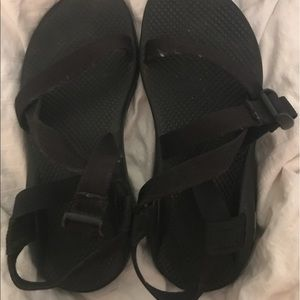 Black single strapped chacos